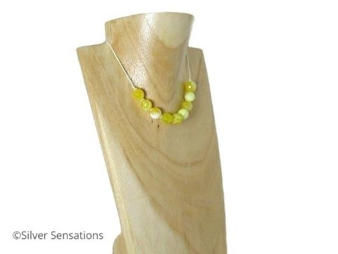 Faceted Yellow Fire Agate Necklace - Sliding Knot Choker